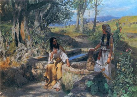 Siemiradzki, Henryk Hektor: Christ and the Woman of Samaria, 1890. Fine Art Print/Poster. Sizes: A4/A3/A2/A1 (00134)